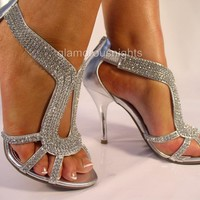 "SILVER DIAMANTE ENCRUSTED 3.75"" HEEL EVENING SANDAL,PARTIES, WEDDINGS, PROMS."