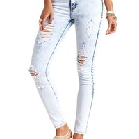 HIGH-WAISTED ACID WASH DESTROYED SKINNY JEANS