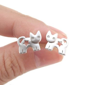 Kitty Cat Silhouette with Star Cut Out Shaped Stud Earrings in Silver | DOTOLY