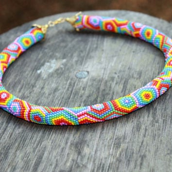 Rainbow beaded rope necklace - Rope necklace - Bead crochet necklace with geometric pattern - Handmade jewelry - Patchwork - Gift for her