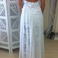 Stunning short wedding dress with shoestring straps and low back, long lace back skirt