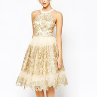 Chi Chi London Premium Metallic Lace Midi Prom Dress with High Neck