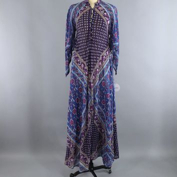 Vintage 1970s Indian Cotton Maxi Dress / ADINI / Blue & Purple Floral Caftan