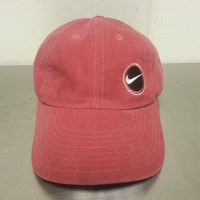 Vintage 90's Nike Coral Red Zipback Slideback Dad Hat Golf Cap Minimal Design Cotton Hip Hop Street Wear Sports Wear Tennis