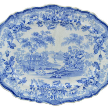 Flow Blue Small Serving Platter Antique English 19th Century