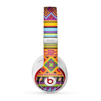 The Vector Gold & Purple Aztec Pattern V32 Skin for the Beats by Dre Studio (2013+ Version) Headphones