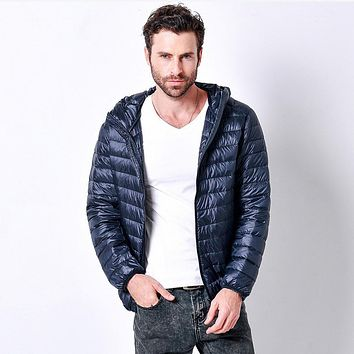 3XL Plus Size Promotion Discount 90% white duck hooded down jacket 2017 winter new men's lightweight solid color casua down w827