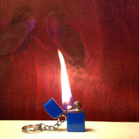 SALE Unique Mini Blue Flip Top Keychain Lighter