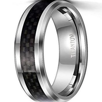 CERTIFIED 8mm Titanium Wedding Rings Black Carbon Fiber Inlay for Men