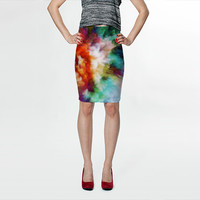 Wearable Art, custom made, exclusive print design, artful stretch fitted skirt, shaping flattering abstract liquid colorful rainbow design
