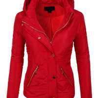 LE3NO Womens Quilted Padded Puffer Jacket with Detachable Hoodie
