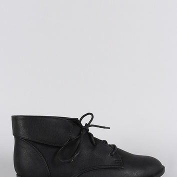 Breckelle Collar Round Toe Lace Up Oxford Booties
