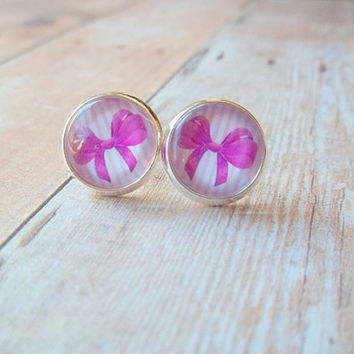 CLEARANCE 50% OFF - Fushia Pink Princess Bow and Pink and White Striped Photo Glass Cab Circle Silver Post Earrings