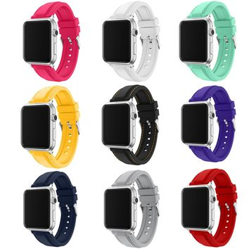 DAHASE Watchband for Apple Watch Silicone Band for iWatch 1st 2nd Rubber Wrist Strap with Quick Release Adapters 42mm 38mm