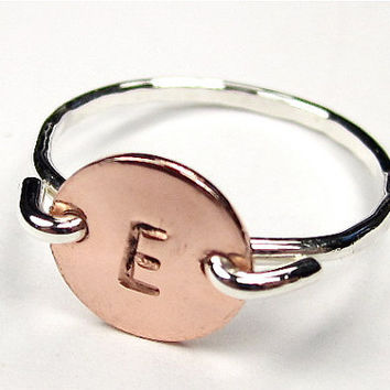 Alphabet Ring- Silver & Copper- Personalized Ring- Handstamped with the Letter of your Choice- Simple Ring