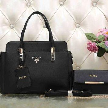 PEAPJ3V PRADA Women Fashion Leather Satchel Tote Handbag Crossbody Set Two-Piece-2