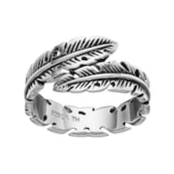 PRIMROSE Sterling Silver Feather Bypass Ring | null