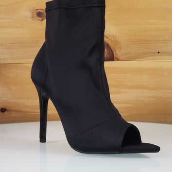 "Dara Black Fitted Open Pointy Toe Ankle Boot - 4"" High Heel Shoe"