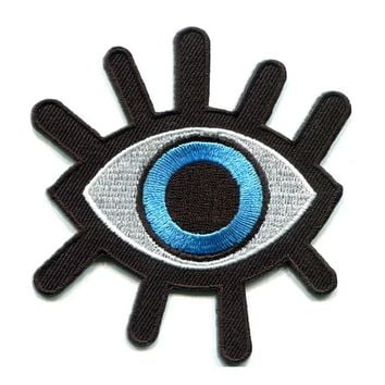 Free Shipping Eyeball Tattoo Wicca Occult Goth Punk Retro Custom Sew on/Iron on/Vecro on Applique Embroidery Patch