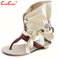 Women Summer Hot Flat Sandals High Ladies Slippers Heel Shoes Sexy Female Gladiator Shoes Women's Fashion Sandals Size 34-43