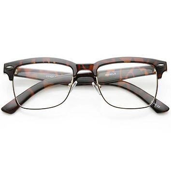 a382317ac0 Vintage Inspired Horned Rim Half Frame Clear Lens Glasses 9623