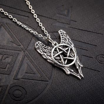 Supernatural necklace pentagram angel wings vintage pendant jewelry for men and women Movie The Forces Of Evil Talisman Necklace