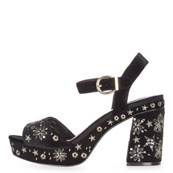 Lace Embroidered Platform Heels - Shoes