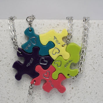 Puzzle Piece Necklace Set of 5  Best Friend Pendants Polymer Clay Bright Colors Made To Order