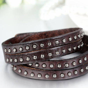 mens leather metal stud cuff brown leather mens leather bracelet unisex men unisex bracelet unisex women