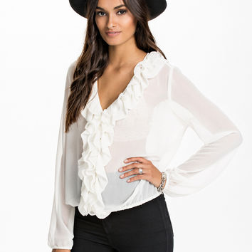 White V-Neck Ruffled Long Sleeve Chiffon Blouse