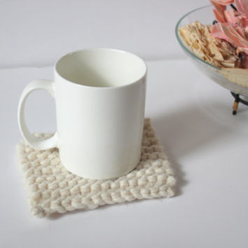 Thick Knit Coasters, Ivory Home Decor, Gift Ideas, Wool, Drink Coasters, Trivets, Cottage Chic