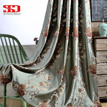 Curtains For Living Room Bedroom Embroidered Drapes Green Window Floral Kitchen Fabric Custom Size Panel
