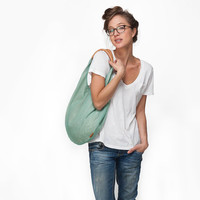 LARGE Mint hobo handbag, canvas bag by Leah Lerner