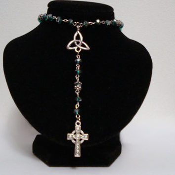 Celtic Cross Triquetra Knot Pendant Rosary Necklace Teal Emerald Ruby Sapphire Aquamarine Amethyst Peridot Faceted Prayer Beads