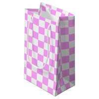 Light Pink and White Checkerboard Pattern Small Gift Bag