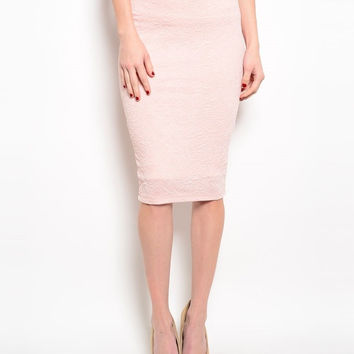 Glitter & Raised Texture Below Knee Length Pencil Skirt in Light Pink