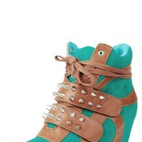 Make Me Chic Bigbang Spike Strap Wedge Sneakers GREEN