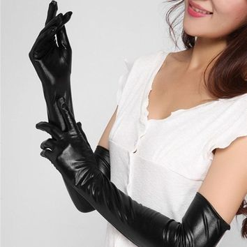 1Pair Adult Sexy Long Latex Gloves Black Ladies Hip-pop Fetish Faux Leather Gloves Clubwear Catsuit Cosplay Costumes Accessory