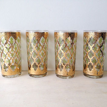 Vintage set of four Green and gold Culver Green Diamond Valencia pattern highball glasses