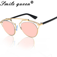 Reflected Cat Eye Sunglasses Brand Design Female Male Superstar Rihanna Women Or Men Real UV400 Rose Gold Sunglasses Style D