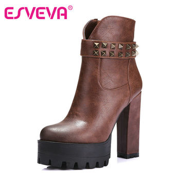 ESVEVA  New rivet Woman motorcycle boots boot Causal Autumn spring Women PU Leather ankle Boots Shoes