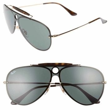 Ray-Ban Blaze Shooter Shield Sunglasses, Gold/ Green 59mm