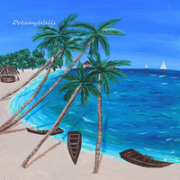 tropical painting, palm tree art, beach painting, Carribean Art, Island painting, Tiki art, Ocean painting