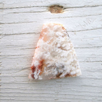 White Plumed Agate Preform Cabuchon -