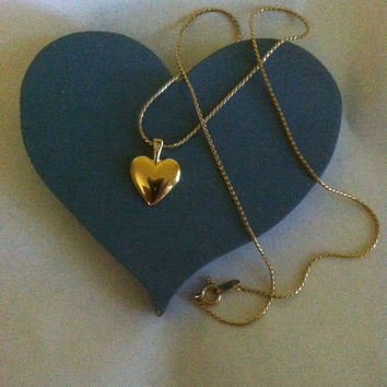Heart Necklace Vintage Heart Collectible Necklace Gold Heart Pendant Minimalist Heart  Heart Lovers Jewelry Wedding Fall Christmas Gift