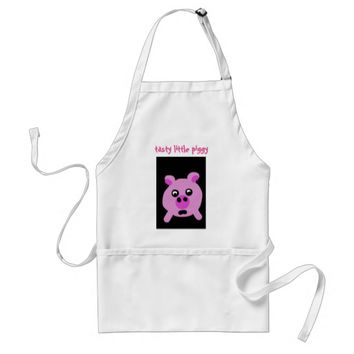"""tasty little piggy"" Cute Cartoon Pink Pig Apron"