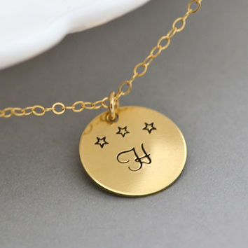 Gold Initial Disc Necklace, Little Star Necklace, Tiny Star, Monogram Necklace, Customized Letter Necklace