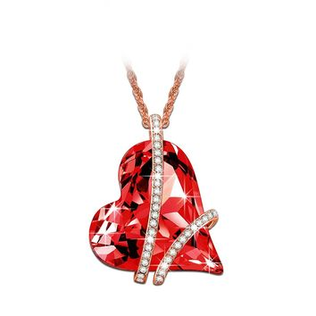 """♥Valentine's Day Gift♥ LadyColour """"Sweet Heart"""" Pink or Red Heart Pendant Necklace 18"""" Made With Swarovski Crystals"""