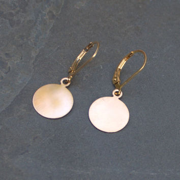 Gold Disc Earrings 14k Fill Round Flat Discs Shiny Simple Sweet Clic