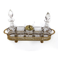Vintage Cruet and Condiment Set with Brass Holder
